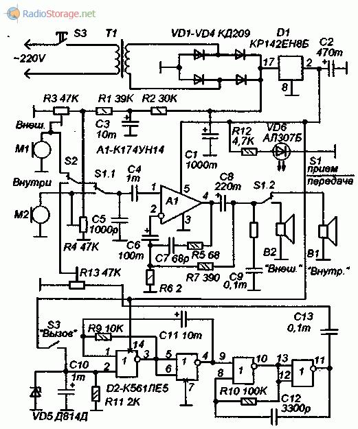 Принципиальная схема самодельного домофона