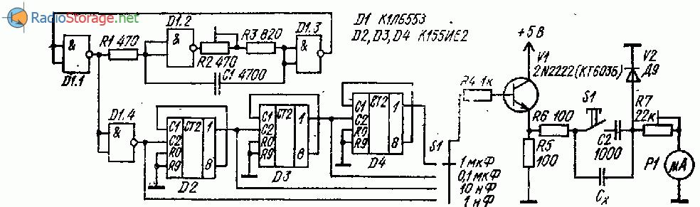 Измеритель емкости на логических микросхемах (К1ЛБ553, К155ИЕ2)