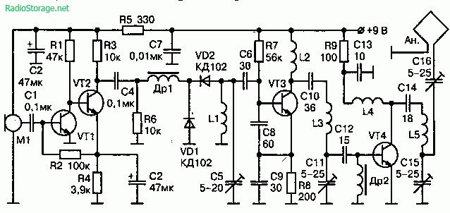 Радиопередатчик с компактной рамочной антенной на 65—73 МГц (9В, дальность 150м)