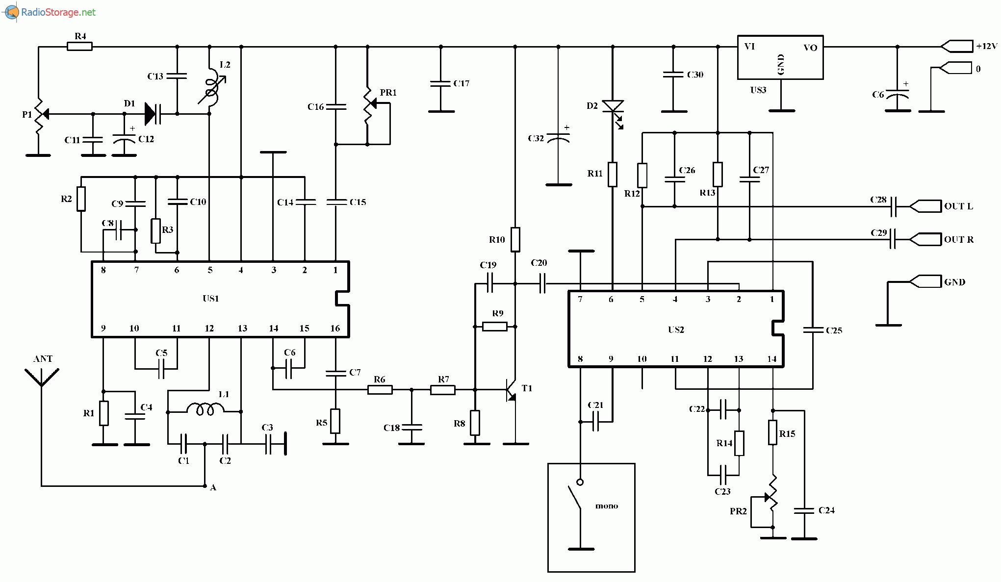 УКВ стерео тюнер на микросхемах TDA7020, МС1310, схема