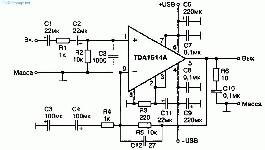 Фазолинейный активный кроссовер 3 х TDA1514А