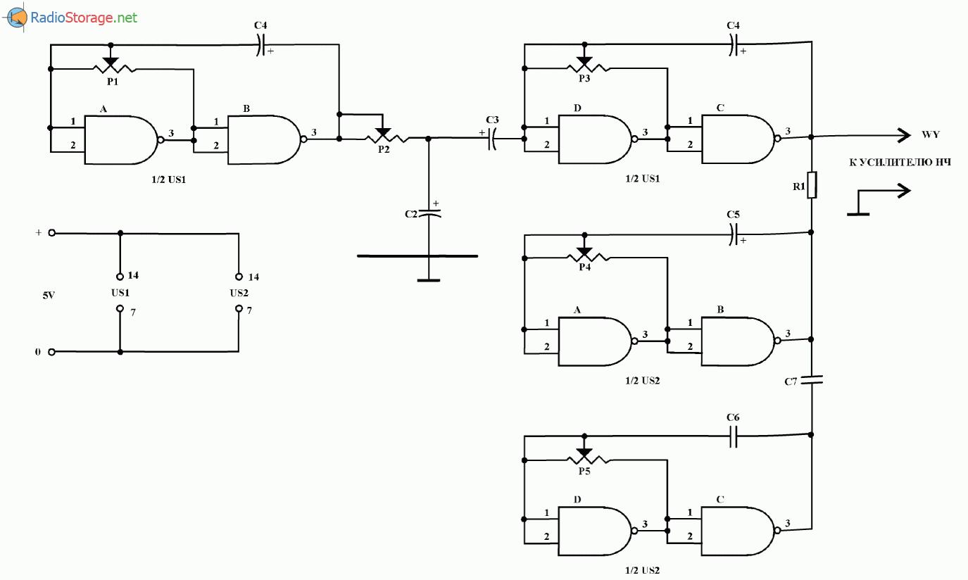 Генератор звуковых эффектов на микросхемах UCY7400, схема