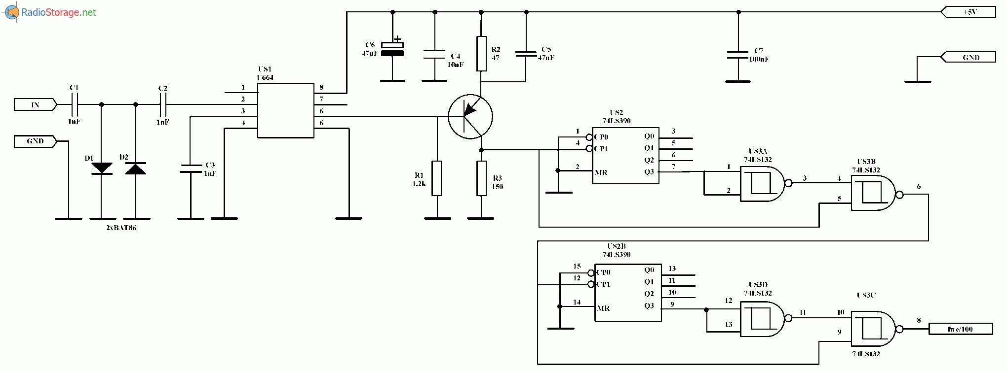 Приставка - делитель частоты 1:100, схема