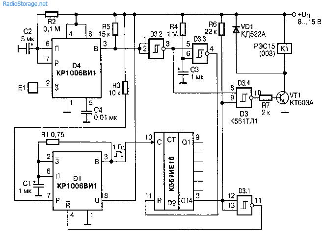 Сенсор с задержкой в схеме управления вентилятором (КР1006ВИ1)