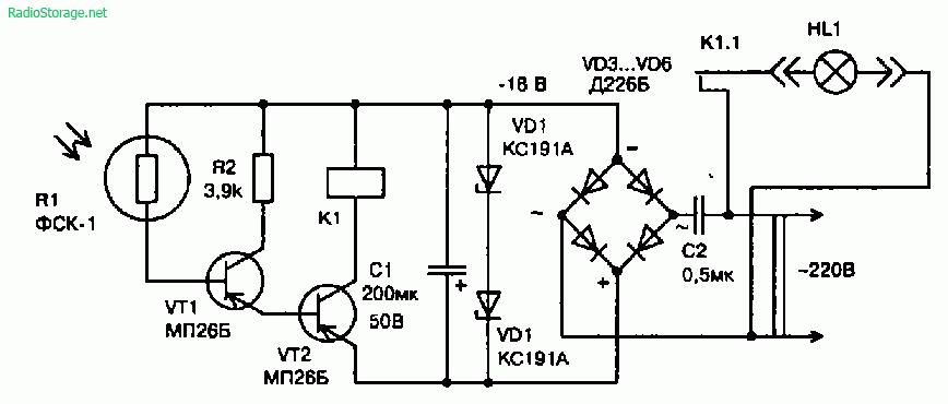 Схема простейших устройств управляемых светом (двигатель, реле)
