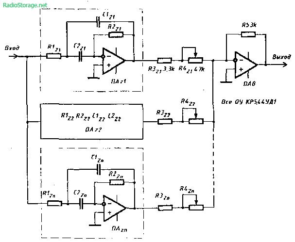 Схема многополосного графического эквалайзера на микросхемах КР544УД1