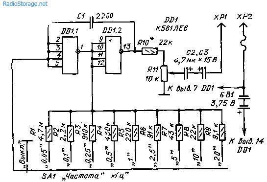 Щуп-генератор ЗЧ на микросхеме К561ЛЕ6