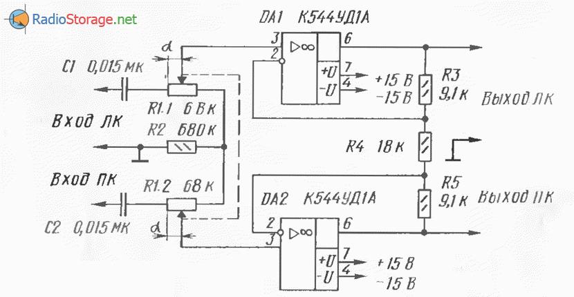 Регулятор ширины стереобазы, рокот фильтр (К544УД1А), схема