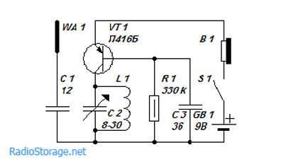 укв приемник на одном транзисторе схема