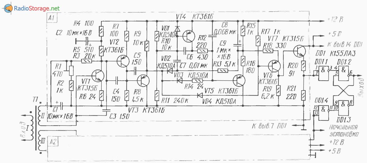 Транзисторный приемник двоичных сигналов, схема