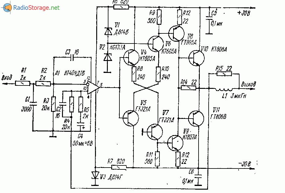 Экономичный термостабильный УНЧ на 30Вт (К140УД1Б, КТ808, КТ806)