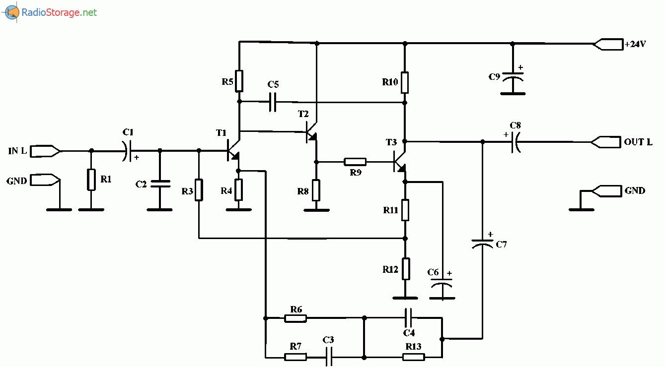 Корректирующий усилитель на транзисторах для звукоснимателя, схема