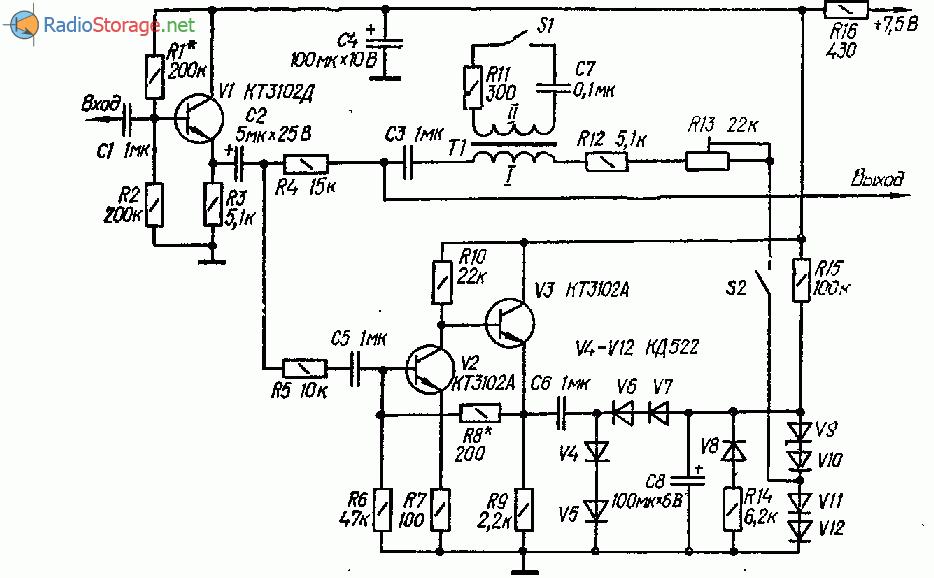 Ограничение шума в паузах для магнитофона