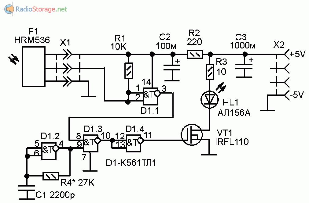 Принципиальная схема ретранслятора инфракрасного сигнала пульта ДУ
