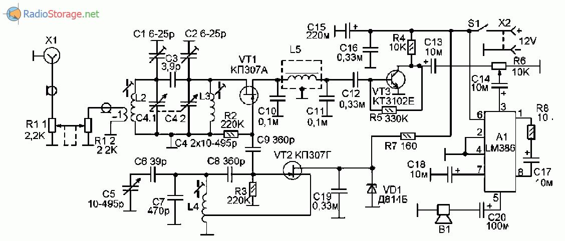 Принципиальная схема КВ приемника прямого преобразования на 7МГц, 14МГц и 21МГц