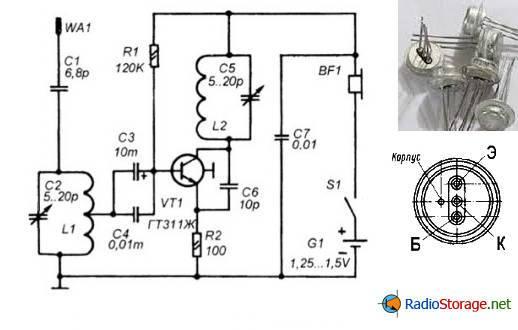 схема укв радиоприемника на транзисторе ГТ311