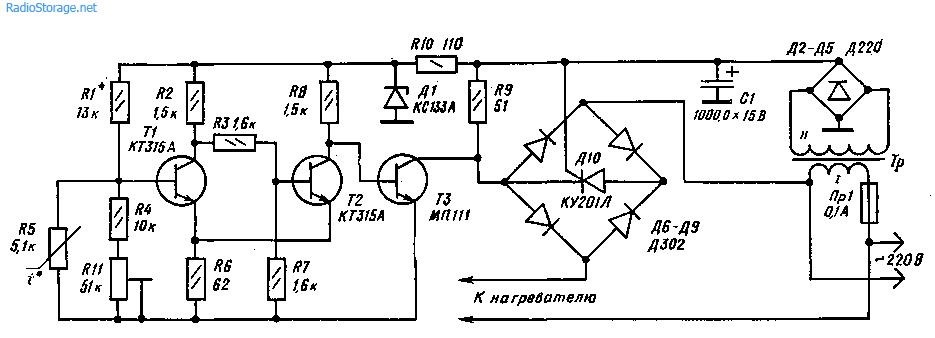 Схема терморегулятора для стабилизации температуры нагревателяа(500 Вт)