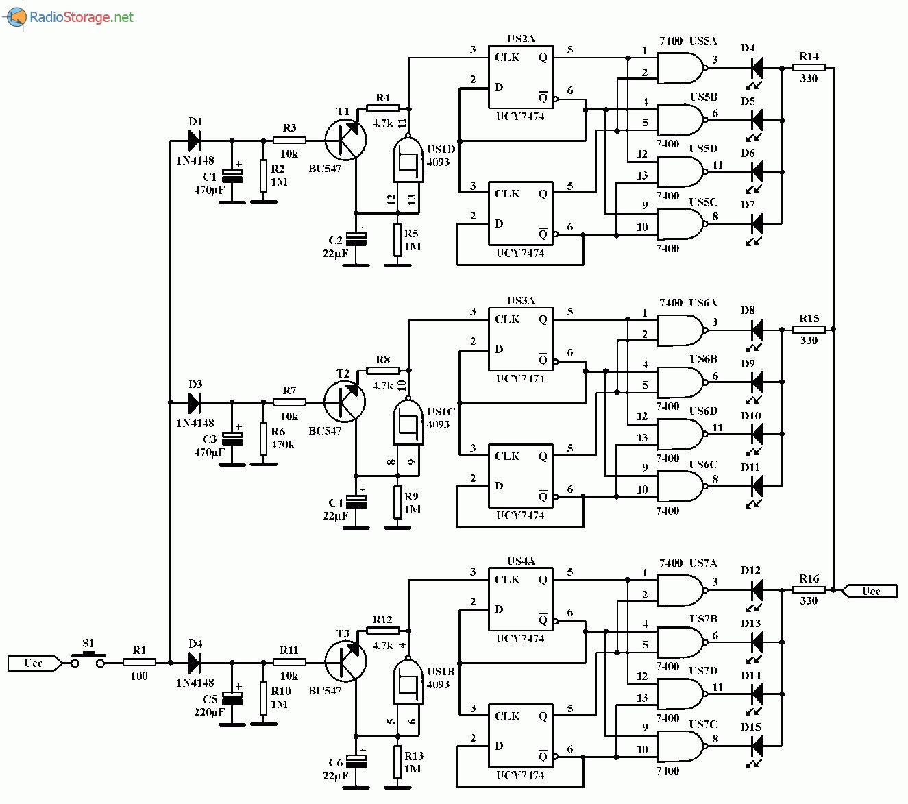 Электронный игровой автомат на светодиодах, схема