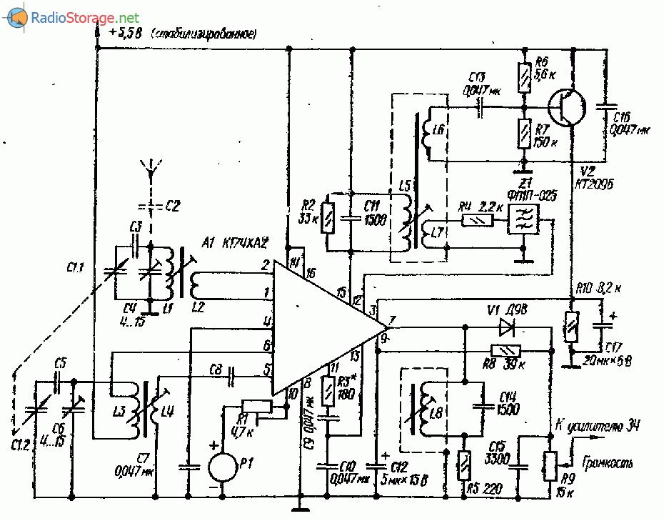 Супергетеродинный КВ приемник на К174ХА2, К174УН7 (31м)