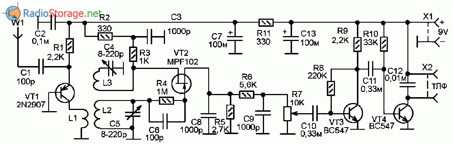 Принципиальная схема коротковолнового регенеративного приемника на транзисторах