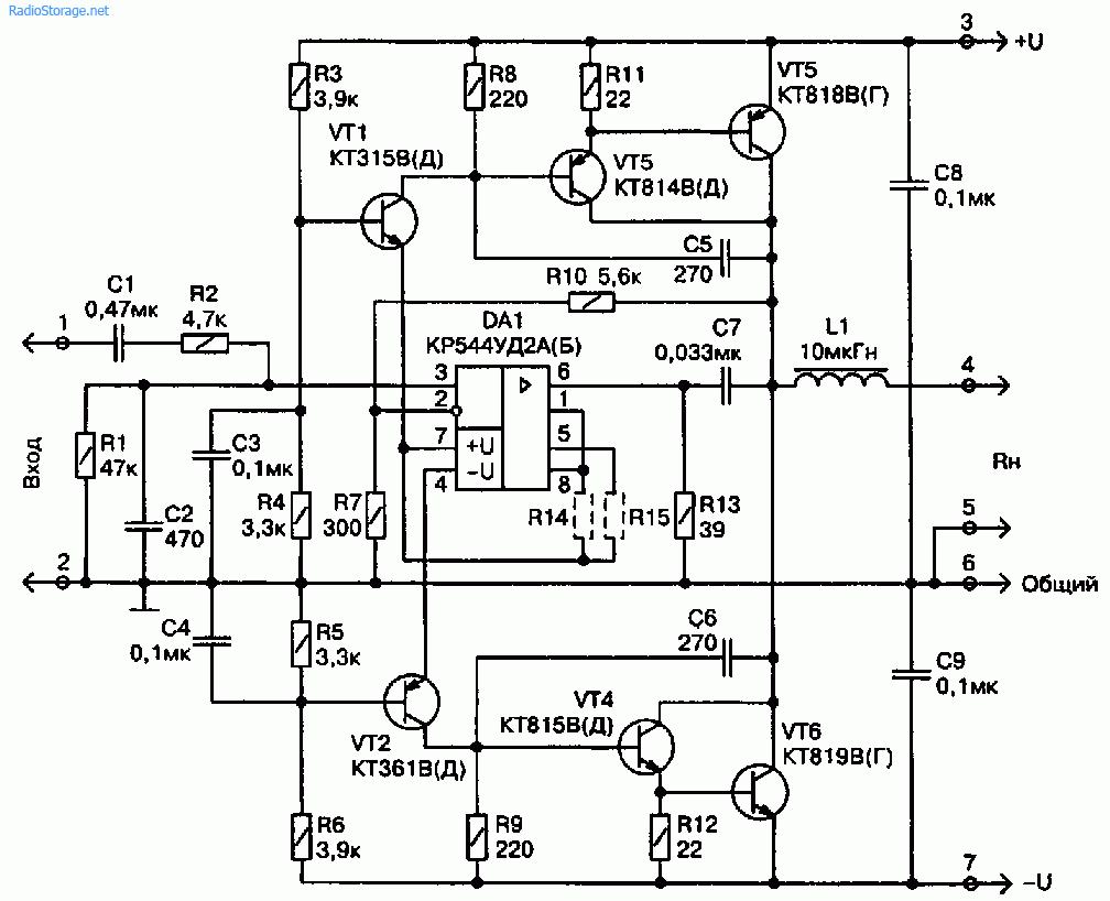 Схема 20-ваттного УМЗЧ на транзисторах с оригинальной раскачкой выходной ступени