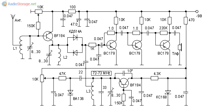 Принципиальная схема УКВ приемника прямого преобразования на 144МГц