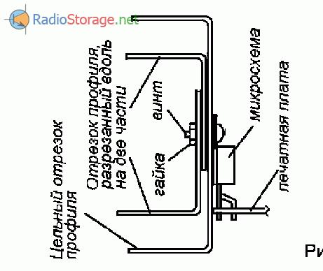 Крепление микросхемы TDA2005 к радиатору