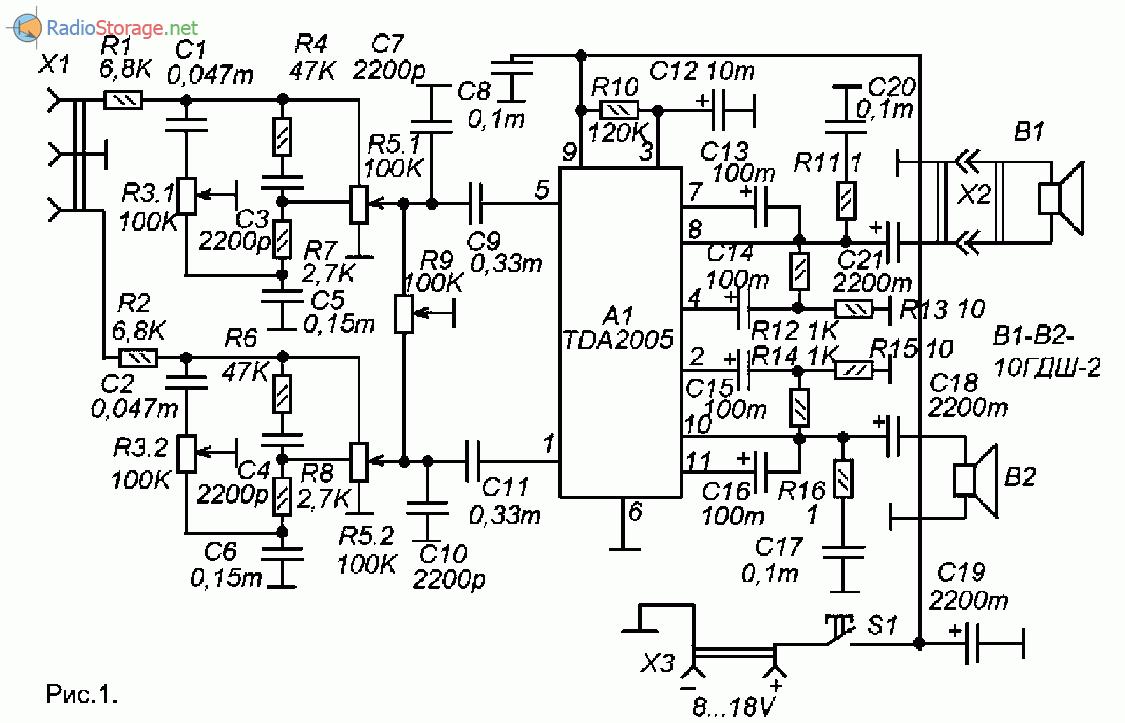 Принципиальная схема усилителя мощности на TDA2005 с темброблоком