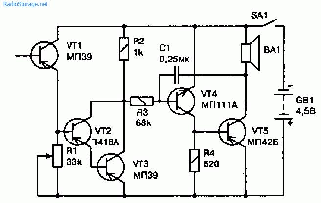 Электронная схема сигнализатора горения газовой горелки плиты