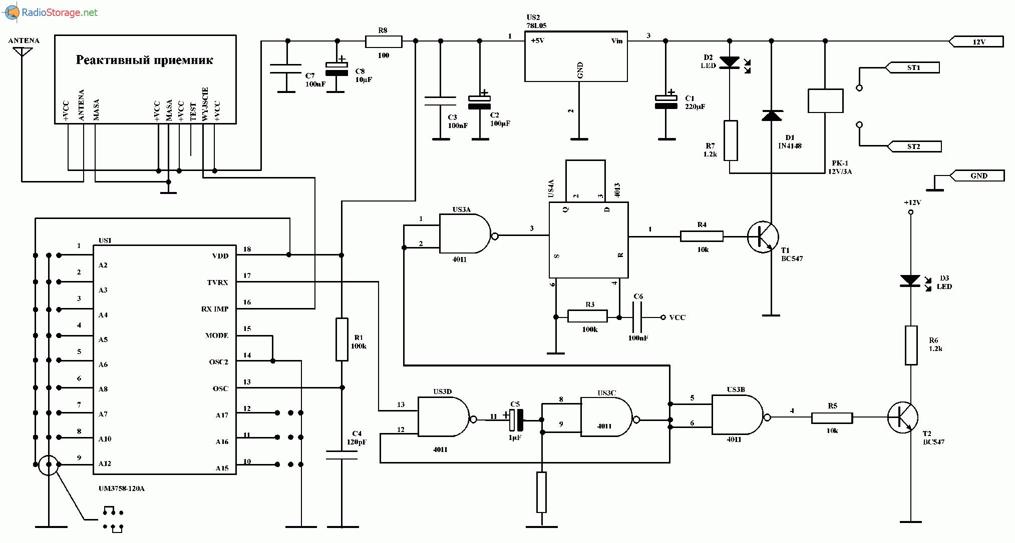 Система дистанционного радиоуправления на UM3758-130A, схема
