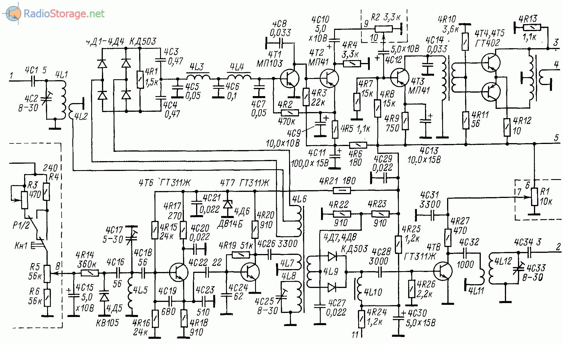 Принципиальная схема основного блока 21 МГц