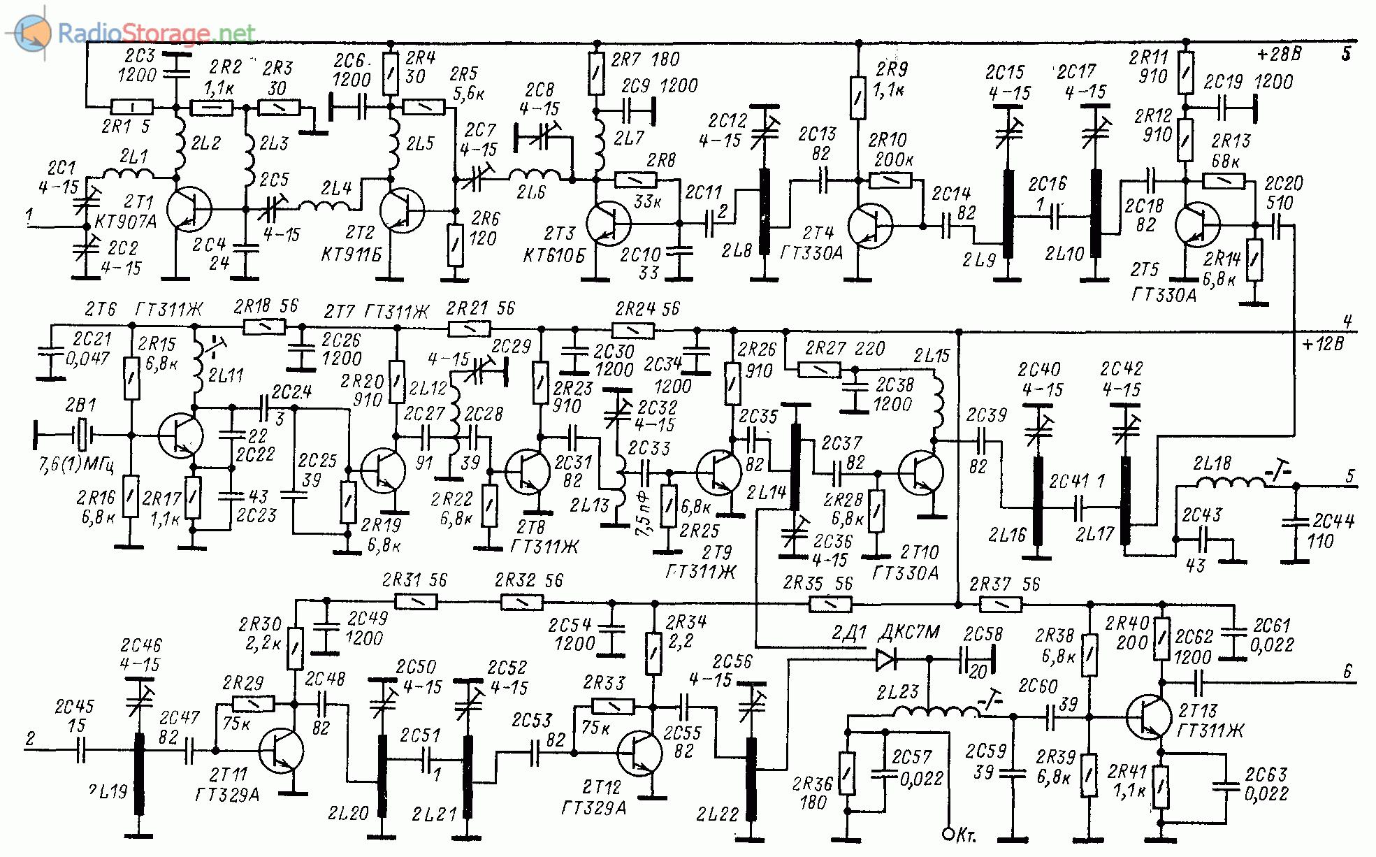 Принципиальная схема трансвертера 432/21 МГц