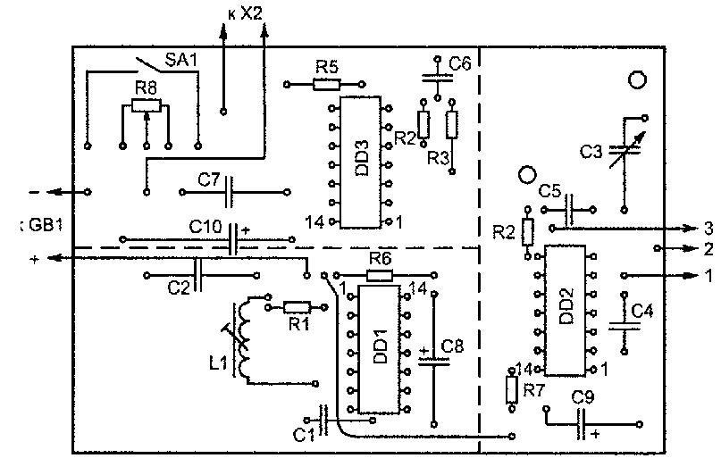 Печатная плата для металлоискателя повышенной чувствительности на микросхемах K561ЛE5