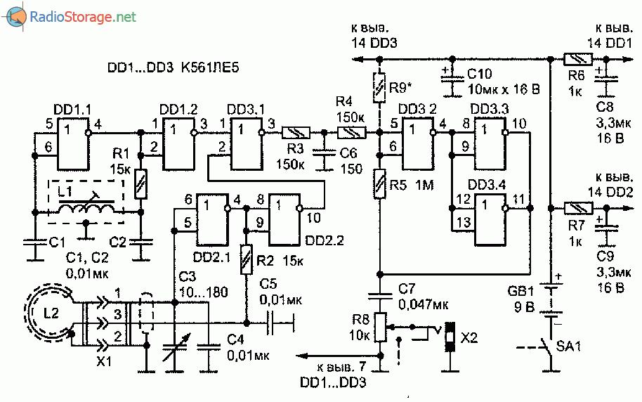 Принципиальная схема металлоискатель повышенной чувствительности на трех микросхемах K561ЛE5