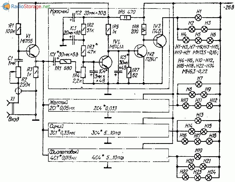 Четырехканальная цветомузыкальная установка на транзисторах