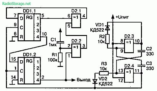 Схема цифрового генератора шума на микросхемах К561ИР2, К561ЛП2