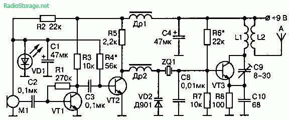 Схема радиопередатчика с высокой стабильностью несущей частоты на 61—74 МГц