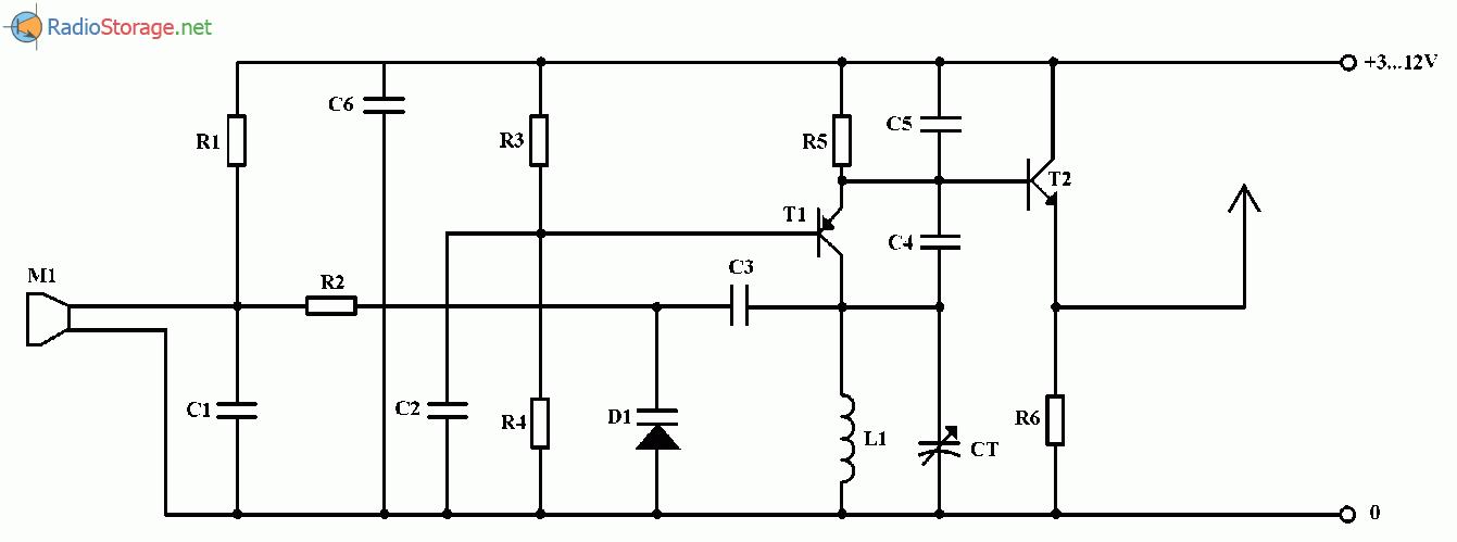 Беспроводный FM микрофон, схема
