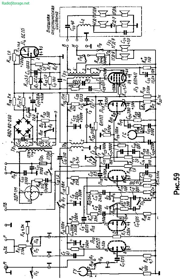 Схема магнитофона Астра-2 на 6Н2П, 6Н1П, 6П14П и 6Е1П (2Вт)