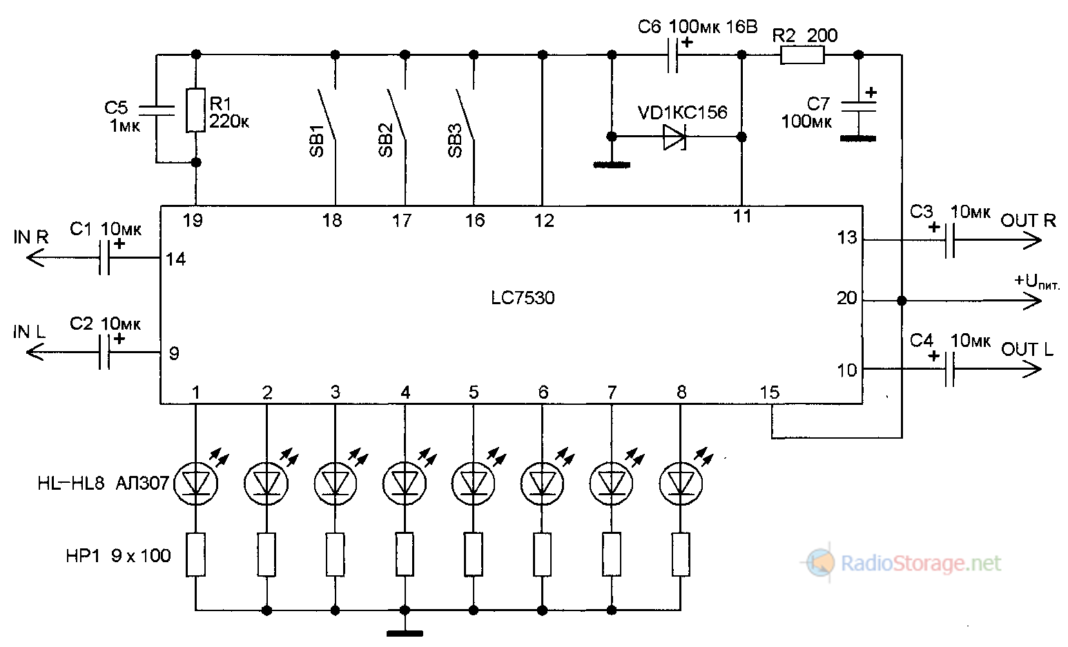 Принципиальная схема включения микросхемы-цифрового регулятора громкости LC7530