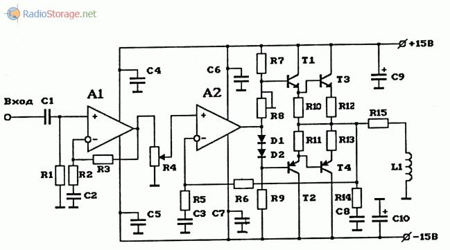 Схема мощного УНЧ высокой чувствительности на 2 ОУ, используемого в качестве индукционного передатчика