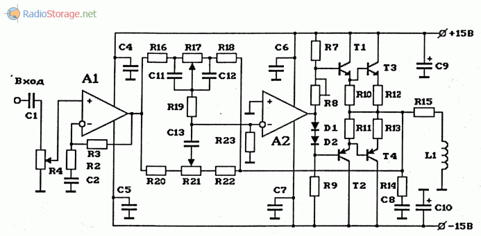 Схема мощного УНЧ высокой чувствительности на 2 ОУ с регуляторами громкости и НЧ- и ВЧ-тембра