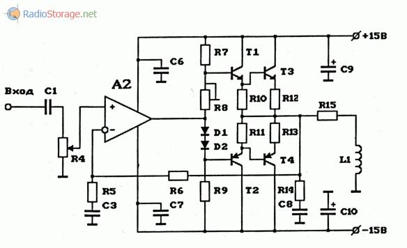 Схема мощного УНЧ на 1 ОУ, используемого в качестве индукционного передатчика