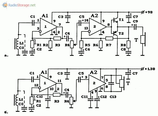 Схемы приемников для индукционного способа передачи информации на ИС серии 548