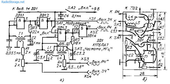 Схема (а) генератора для настройки радиоприемников и его монтажная плата