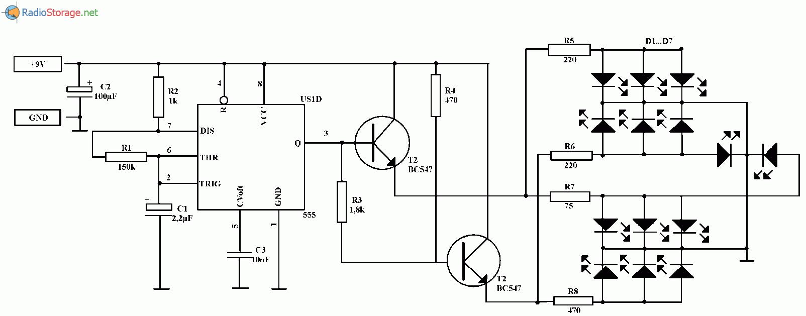 Двухцветная мигалка на светодиодах (NE555), схема