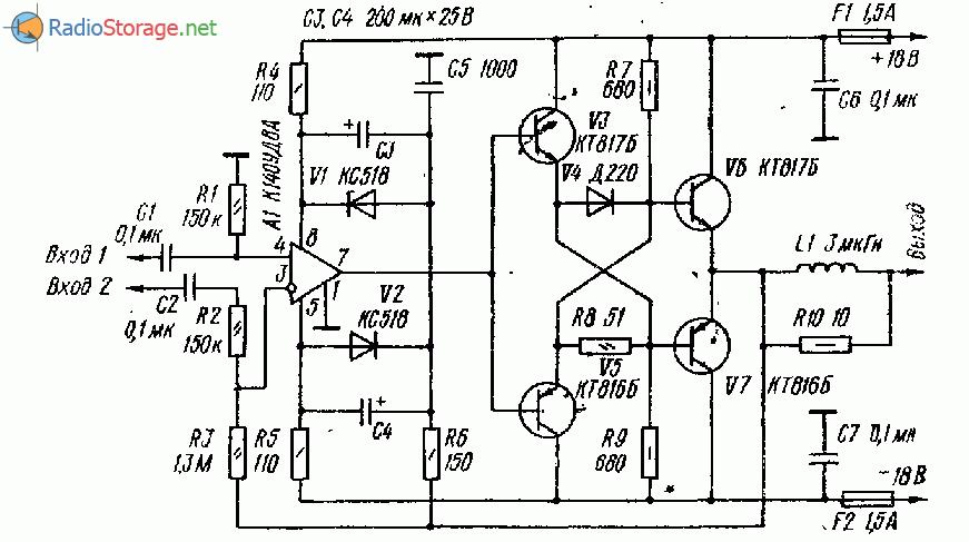 Термостабильный усилитель мощности НЧ (25 Вт на 4Ом)