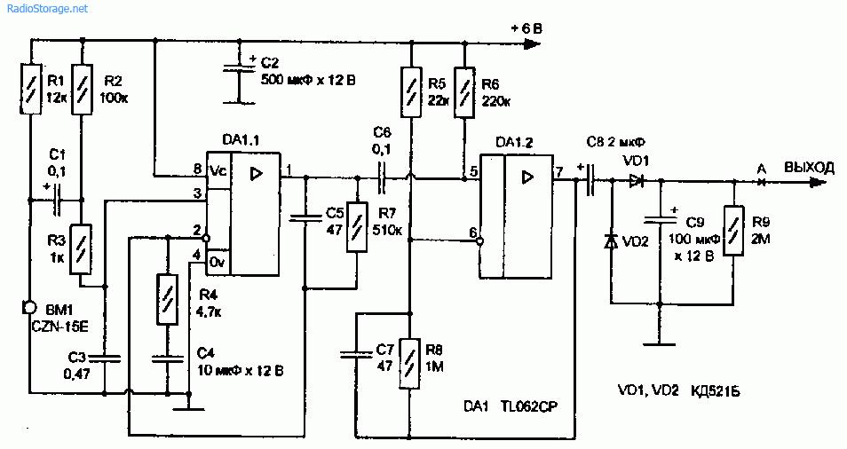 Схема акустического датчика-выключателя для электронных устройств
