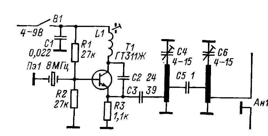 Схема контрольного маячка диапазона 432 МГц