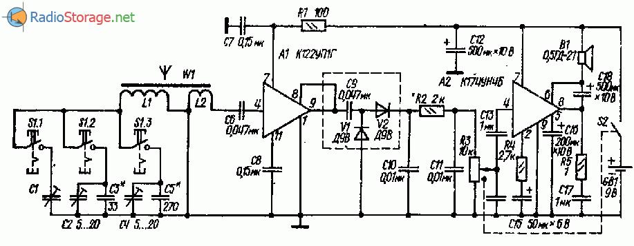 Приемник на микросхемах К122УП1Г, К174УН4Б (СВ-ДВ)
